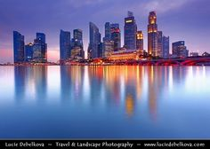 Singapore - Financial District Reflected during Blue Hour / Twilight / Dusk