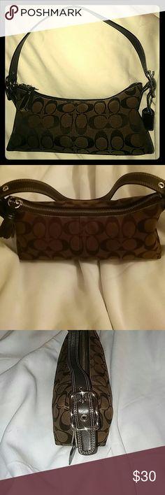 "Coach Baguette, Chocolate Brown Great condition small handbag.10.5 x 4.5 x 2, drop 7"" Coach Bags Satchels"