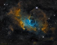 Bubble Nebula (aka NGC 7635), in the constellation Cassiopeia, is formed from the wind of a massive star.
