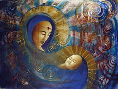 Painting - Primordial Mother Gives Birth To Solar Father by Stephen Lucas , Mother And Child Painting, Beautiful Fantasy Art, Visionary Art, Fantasy Landscape, Mother Mary, Moon Art, Whimsical Art, Mythical Creatures, Deities