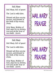 Hail Mary Prayer Learning Card Set   Thatresourcesite – Educational and Religious Education Resources for Teachers and Homeschoolers.