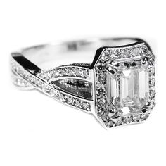 Emerald Cut Diamond twisted Band Engagement Ring