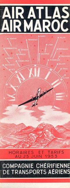 Air Atlas/Air Maroc June 25, 1953 timetable image (From the collection of Dacre Watson)