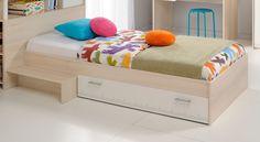 Lit enfant en bois blanc et acacia Marcus. Lit mixte avec tête de lit, tiroir de lit pour ranger toutes les affaires de vos enfants et une marche d'accès.  A assortir avec les meubles de la même gamme, pour une chambre complète : http://www.lematelas.fr/meubles-de-la-chambre/chambres-enfants-et-ados.html?assortiment=1987  #LitEnfant #LitAdo #LitEnfantBois