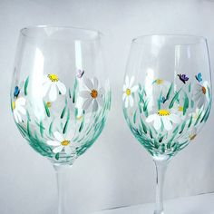 Spring wine glass pair daisy wine glass hand by aGlassWithSass