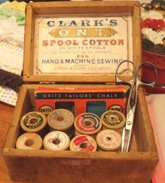 Vintage Wooden Spool Box - Clarks - Graphic Advertising with Old Thread