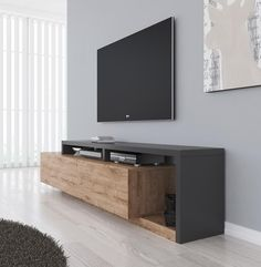 TV-Furniture Bello - Oak - Anthracite - 219 cm - TV-Meubel Bello – Eiken – Antraciet – 219 cm TV-Furniture Bello – Oak – Anthracite – 219 cm – TV furniture – Cabinets and display cases – Living room Tv Wall Furniture, Living Room Furniture, Living Room Decor, Furniture Design, Tv Unit Decor, Modern Tv Units, Living Room Tv Unit Designs, Tv Stand Designs, Tv Wall Design