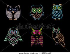 Rhinestone picture of owl set on black background. Rhinestone pattern. - stock photo
