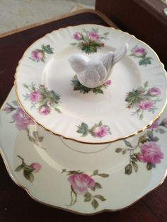 2-Tier Jewelry/Dessert Tray, Vintage White and Pink Rose Pattern China, Brass Hardware, Gold-edged Trim, White Ceramic Sparrow. $35.00, via Etsy.