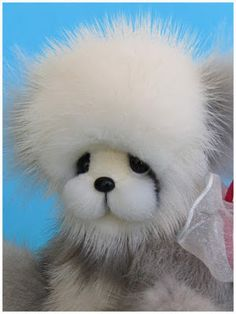 VoVo a recycled vintage mink fur bear by BlueValley Bears.