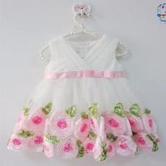 [ 20% OFF ] Baby Girl Clothes 2016 Summer Hot Baby Ivory Rose Formal Party Dress, Baby Summer Deep V-Neck Birthday Wedding Dress