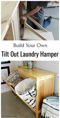 Diy Furniture Easy, Diy Furniture Projects, Woodworking Projects Diy, Diy Wood Projects, Home Projects, Furniture Storage, Woodworking Plans, Laundry Hamper Cabinet, Tilt Out Laundry Hamper