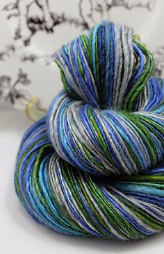 Handspun Yarn Gently Thick and Thin Single Blue by SheepingBeauty, $44.00