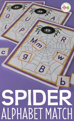 Spider alphabet match activity is a great addition to your literacy center for October, Halloween, or a spider theme unit. Kids can match uppercase to lowercase letters or uppercase to uppercase letters. A great individual or small group activity or game for preschool, pre-k, kindergarten, RTI, and SPED classrooms. alphabet recognition, ABC's, letter identification, letter matching