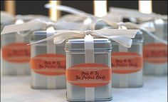 """""""perfect blend"""" tea wedding favor - table to create your own or pre packaged. Provide 10 cloth tea bags per tin. Tea Favors, Wedding Favor Table, Creative Wedding Favors, Edible Wedding Favors, Tea Party Wedding, Diy Wedding, Wedding Gifts, Wedding Ideas, Wedding Souvenir"""