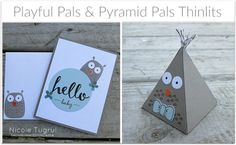 So cute by Nicole! Playful Pals, Celebrate Today, Hello (SAB), Pyramid Pals Thinlits - all from Stampin' Up!
