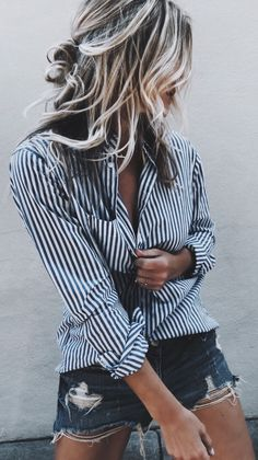 #summer #outfits Friday... So Fancy Striped Shirt + Ripped Denim Short
