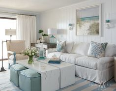 Breezy Condo Living Room in Beach Cottage Style Featured on Completely Coastal. Shop the Look of this Delightful Cozy Living Room!