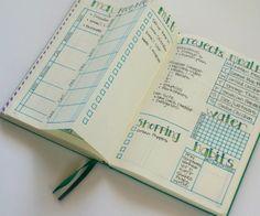 Weekly bullet journal layout with dutch door.