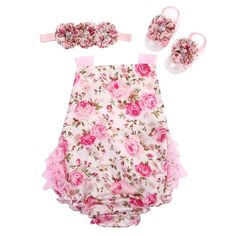 花の赤ちゃんレースロンパース用幼児カチューシャ靴セット; ropaベベブティック幼児夏の服;新生児女の子服
