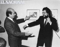 Carlos Andrés Pérez de visita en El Nacional saluda a Miguel Henrique Otero. Caracas, 14-01-1988 (GIORGIO LOMBARDI / ARCHIVO EL NACIONAL)