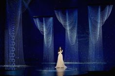"Idina Menzel performs Best Original Song winner, FROZEN's ""Let it Go"" at the Oscars. Concert Stage Design, Church Stage Design, Wedding Stage, Wedding Entrance, Backdrop Design, Frozen Wedding, Idina Menzel, Scenic Design, Light Installation"