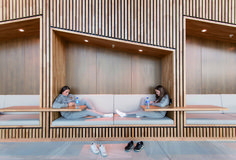 Image 5 of 15 from gallery of Bergen Airport / Nordic Office of Architecture. Photograph by Nils Olav Mevatne Timber Architecture, Architecture Images, Central Building, Creative Office Space, Exhibition Booth Design, Timber Cladding, Study Areas, Pool Designs, Ceiling Design