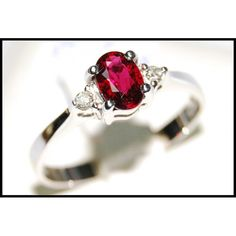 http://rubies.work/0549-sapphire-ring/ Oval Ruby and Diamond Solitaire Ring Unique 18K White by BKGjewels