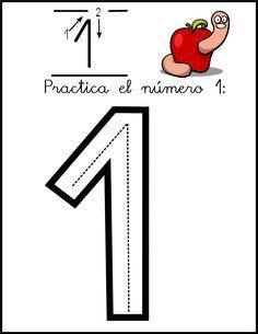 lectoescritura de numeros el 1 ficha 0 Numbers Preschool, Math Numbers, Preschool Math, Preschool Worksheets, Kindergarten, Educational Activities For Kids, Autism Activities, Classroom Activities, Bilingual Classroom