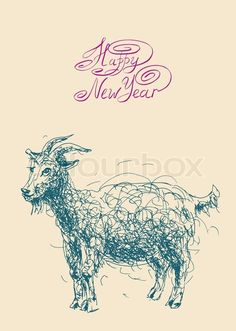 Stock vector of 'happy new year design card with goat or sheep, chinese lunar symbol 2015 year'