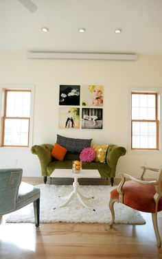 love the contrast of the black & white canvas prints with the color prints.