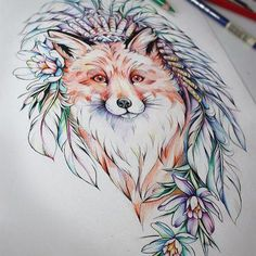 Tattoos From Around The World – Voyage Afield Pencil Art Drawings, Animal Drawings, Tattoo Drawings, Drawing Sketches, Fuchs Silhouette, Body Art Tattoos, Cool Tattoos, Fox Art, Painting & Drawing