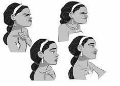I worked on Moana as a Character Designer to help on what's called the Art Packeting. That means I was given the final approved design made at the Studio in Burbank and had to take care of it by. Character Design Girl, Character Design Animation, Character Design Inspiration, Character Art, Cartoon Sketches, Disney Sketches, Disney Drawings, Disney Expressions, Facial Expressions