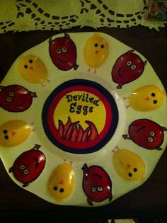 Hand painted deviled eggs plate