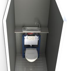 Rendering of a transparent view of a WiCi Next hand wash basin on wall-mounted toilets (Geberit wall-frame)
