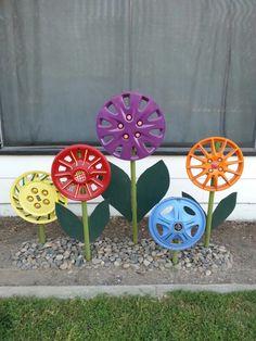 Hubcap flowers!