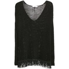 Mango Fringed Hem Jumper, Black (245 MXN) ❤ liked on Polyvore featuring tops, sweaters, v neck jumper, v-neck top, v-neck sweater, mango sweater and lightweight sweaters