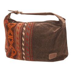 8e14ca76fc Stone washed canvas handbag with internal zippered pocket and dividers with  vintage kilim accent. Shown in dark brown. Also available in steel blue or  tan.