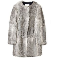 3.1 Phillip Lim Natural Grey Fur Coat ($1,148) ❤ liked on Polyvore featuring outerwear, coats, jackets, fur, women, grey fur coat, 3.1 phillip lim, fur lined coat, long gray coat and grey coat