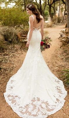 Essense of Australia Wedding Dresses - Search our photo gallery for pictures of wedding dresses by Essense of Australia. Find the perfect dress with recent Essense of Australia photos. Vintage Style Wedding Dresses, Lace Wedding Dress, Fit And Flare Wedding Dress, Designer Wedding Dresses, Bridal Style, Bridal Gowns, Wedding Gowns, Essense Of Australia Wedding Dresses, Dresses Elegant