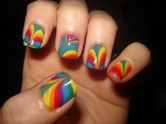Rainbow Nails Check Out The Super Easy Tutorial Here Http Www