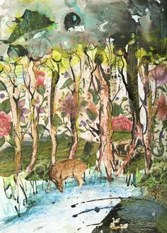 Forest, mixed media. Selena Dugan-Fields. Children's Book Illustration, Selena, Childrens Books, Fields, Mixed Media, Collage, Create, Painting, Art