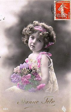 https://flic.kr/p/3gVnYw | Vintage Postcard ~ Flower Girl | Th innocense and hope in the power of pink!