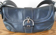 COACH Black Leather Soho Shoulder Bag Silver-Tone Buckle Detail G0778-F10910 #Coach #ShoulderBag