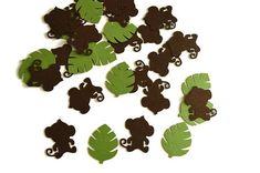 Monkey Confetti - Jungle Leaf Confetti - Jungle Theme Confetti - Baby Shower Decoration - Safari 1st Birthday Party- Table Decoration  ***This