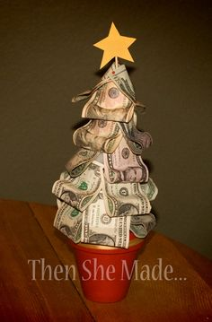 So money does grow on trees!  Money pinned to a styrofoam tree (: