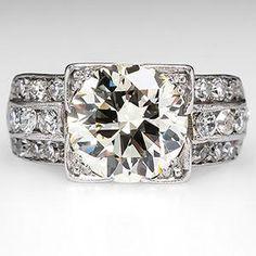 Circa 1940's 2.6 Carat Transitional Cut Diamond Vintage Engagement Ring in Platinum