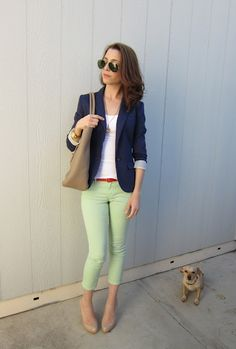 Mint Green Jeans outfits-styled-by-yours-truly Green Jeans Outfit, Mint Green Jeans, Green Pants, Teal Pants, Blue Jeans, Color Menta, Looks Jeans, Fashion Corner, Autumn Winter Fashion