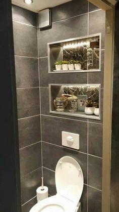 35 tile and marble installation ideas on bathroom walls 22 Bathroom Niche, Bathroom Toilets, Bathroom Layout, Small Bathroom, Modern Bathroom Design, Bathroom Interior Design, Small Toilet Room, Toilet Design, Dream Bathrooms