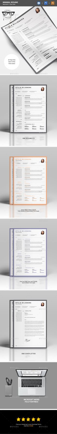 Minimal #Resume - Resumes #Stationery Download here: https://graphicriver.net/item/minimal-resume/19505101?ref=alena994